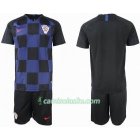 b013d7f1d Camisolas de Futebol Croácia Criança Equipamento Alternativa Copa do Mundo  2018 Manga Curta