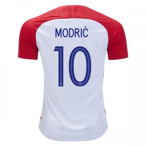 Camisolas de Futebol Croácia Luka Modric 10 Equipamento Principal Copa do Mundo 2018 Manga Curta