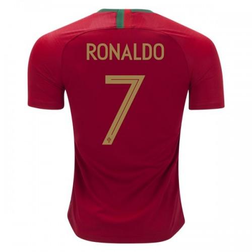 Camisolas de Futebol Portugal Cristiano Ronaldo 7 Equipamento Principal  Copa do Mundo 2018 Manga Curta 92af963e1c951