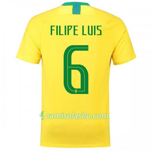 4a064bab60 Camisolas de Futebol Brasil Filipe Luis 6 Equipamento Principal Copa do  Mundo 2018 Manga Curta