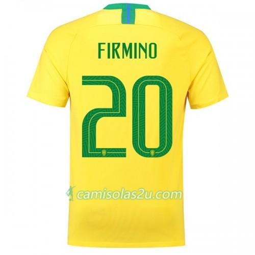 ee86e9c790 Camisolas de Futebol Brasil Firmino 20 Equipamento Principal Copa do Mundo 2018  Manga Curta