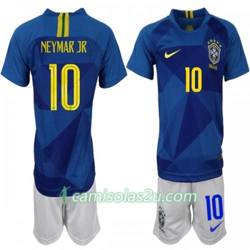 37fb8d120f Camisolas de Futebol Brasil Neymar JR 10 Criança Equipamento Alternativa  Copa do Mundo 2018 Manga Curta