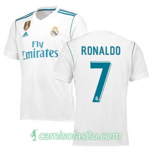 Camisolas de Futebol Real Madrid RONALDO Equipamento Principal 2017/18 Manga Curta
